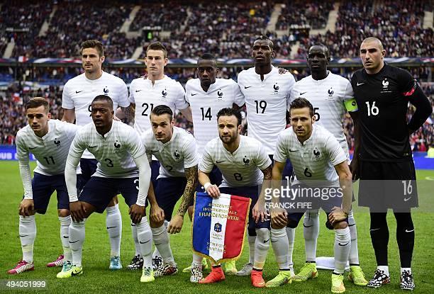 France's forward Olivier Giroud defender Laurent Koscielny midfielder Blaise Matuidi midfielder Paul Pogba defender Mamadou Sakho goalkeeper Stephane...