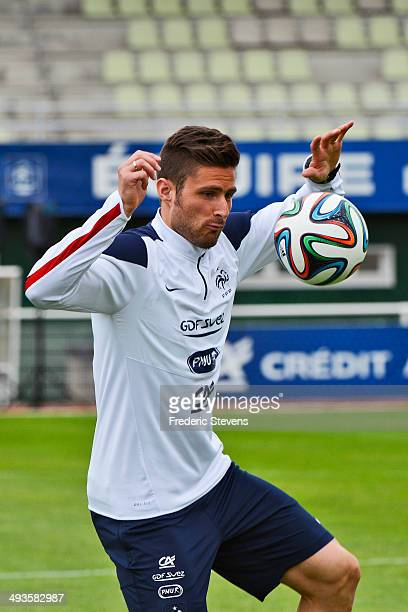 France's forward Olivier Giroud durings a training session at the French national football team centre in ClairefontaineenYvelines on May 23 2014 in...