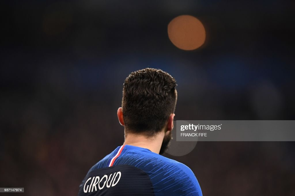 France's forward Olivier Giroud is pictures during the friendly football match between France and Colombia at the Stade de France, in Saint-Denis, on the outskirts of Paris, on March 23, 2018. /