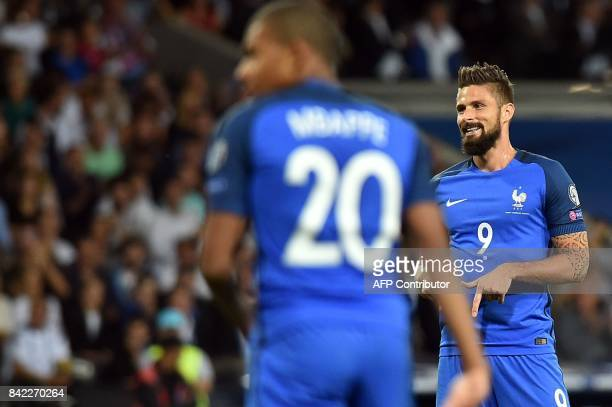 France's forward Olivier Giroud reacts during the FIFA World Cup 2018 qualifying football match France vs Luxembourg on September 3 2017 at the...
