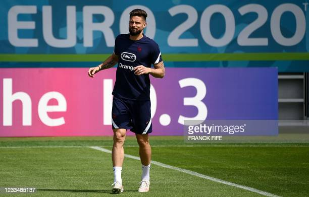 France's forward Olivier Giroud takes part in a training session at the FC Bayern Munich Campus in Munich, southern German, on June 16 during the...