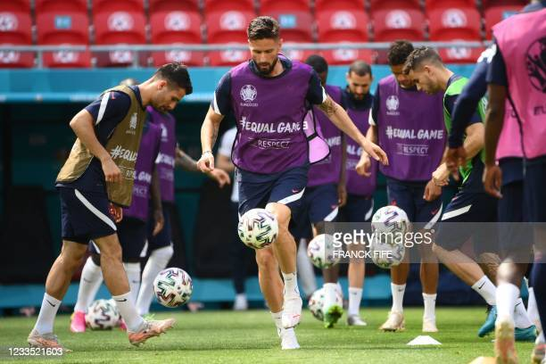 France's forward Olivier Giroud takes part in their MD-1 training session in Puskas Arena in Budapest on June 18 the eve of their UEFA EURO 2020...