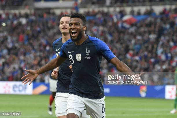France's forward Thomas Lemar celebrates after scoring a goal during the friendly match France against Bolivia at La Beaujoire stadium in Nantes...