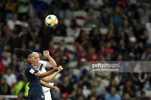 TOPSHOT France's forward Valerie Gauvin vies with Norway's defender Maria Thorisdottir during the France 2019 Women's World Cup Group A football...
