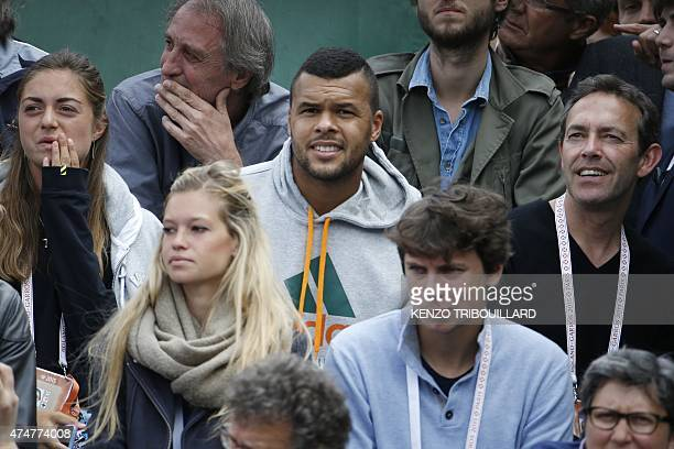 France's France's JoWilfried Tsonga attends the men's first round Poland's Jerzy Janowicz vs France's Maxime Hamou of the Roland Garros 2015 French...