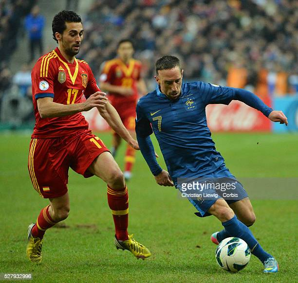 France's Franck Ribery during the FIFA 2014 World Cup qualifying round group I soccer match, France Vs Spain at Stade de France in Saint-Denis suburb...