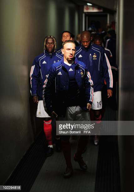 France's Franck Ribery walks in the players tunnel before the 2010 FIFA World Cup South Africa Group A match between France and South Africa at the...