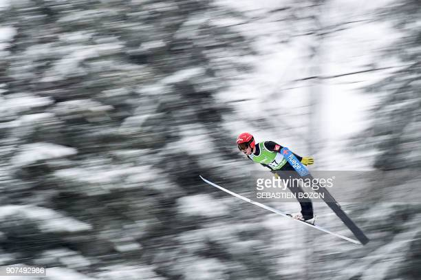 France's Francois Braud competes during the Men's Gundersen of the FIS Nordic Combined World Cup in ChauxNeuve eastern France on January 20 2018 /...