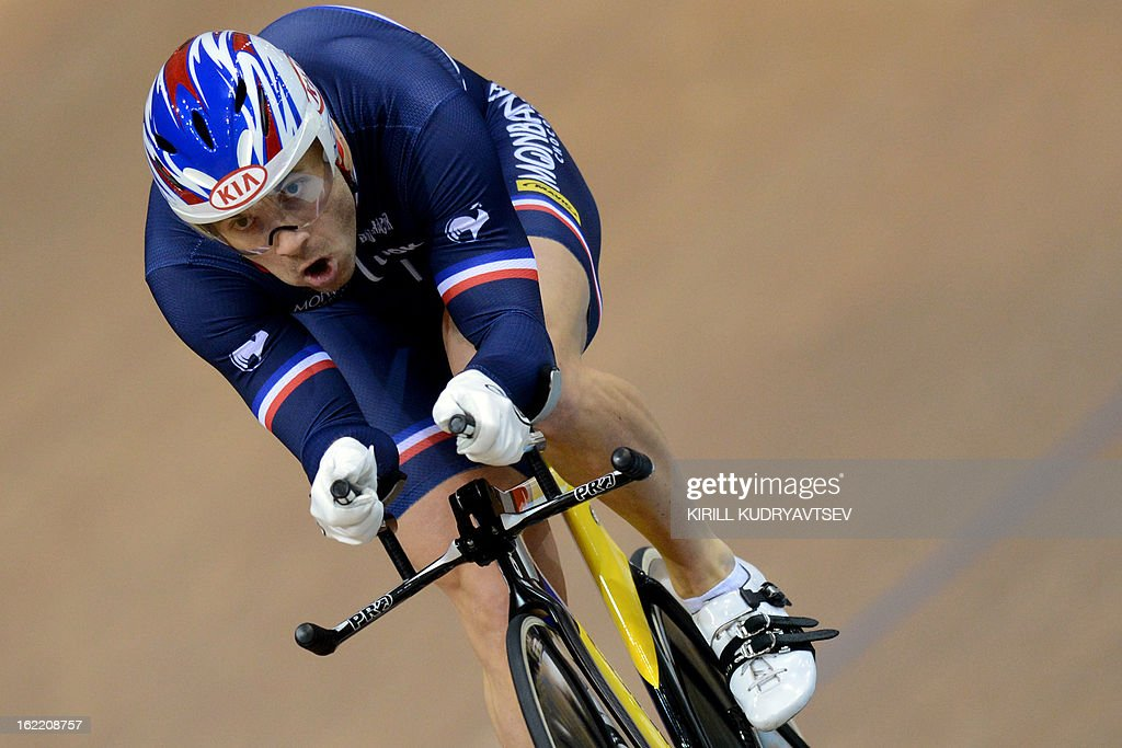 France's Francois Pervis competes to win the gold medal during the UCI Track Cycling World Championships men's time trial in Minsk on February 20, 2013.