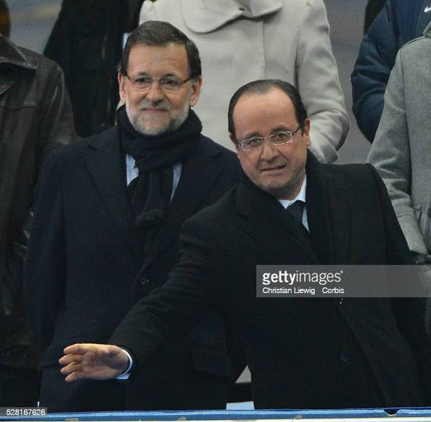France's French president Francois Hollande and Mariano Rajoy president Spain during the FIFA 2014 World Cup qualifying round group I soccer match,...