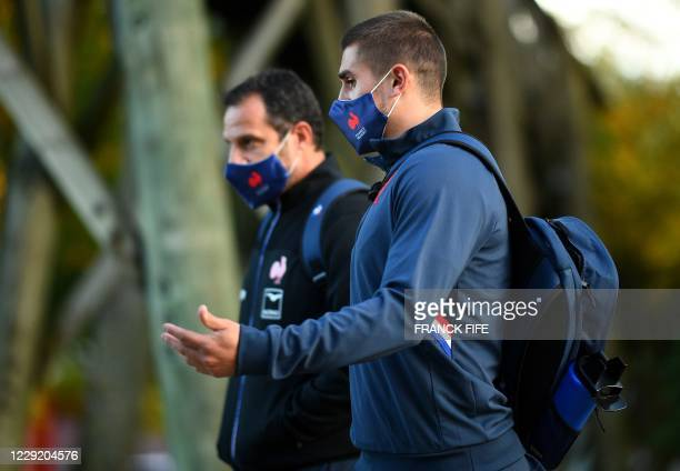 France's full back Thomas Ramos arrives for a training session on October 21 2020 in Marcoussis south of Paris as part of the preparation of the...