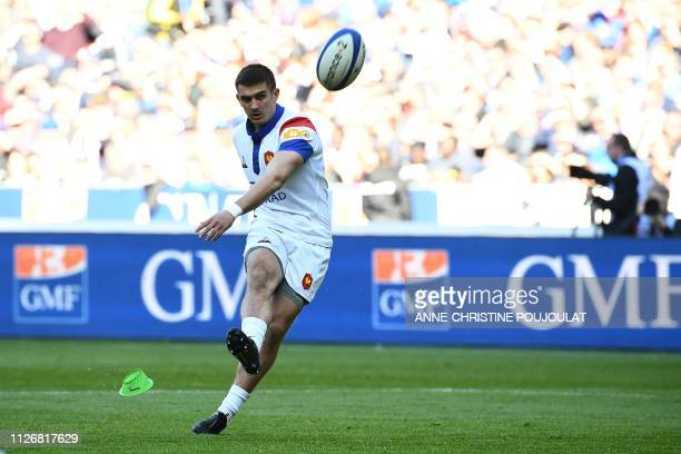 France's fullback Thomas Ramos kicks a converts a try during the Six Nations rugby union tournament match between France and Scotland at the Stade de...