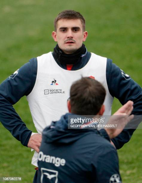 France's fullback Thomas Ramos takes part in a training session on January 23 2019 in Marcoussis ahead of the Six Nations Tournament match against...
