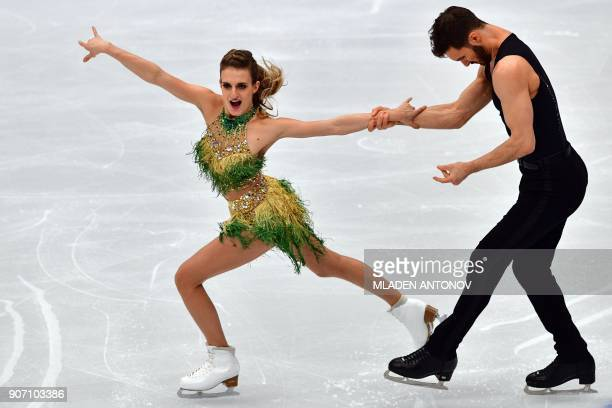 TOPSHOT France's Gabriella Papadakis and Guillaume Cizeron perform during their ice dance short dance at the ISU European Figure Skating...