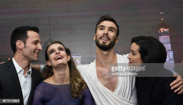 TOPSHOT France's Gabriella Papadakis and Guillaume Cizeron react after performing in their ice dance free dance at the ISU European Figure Skating...