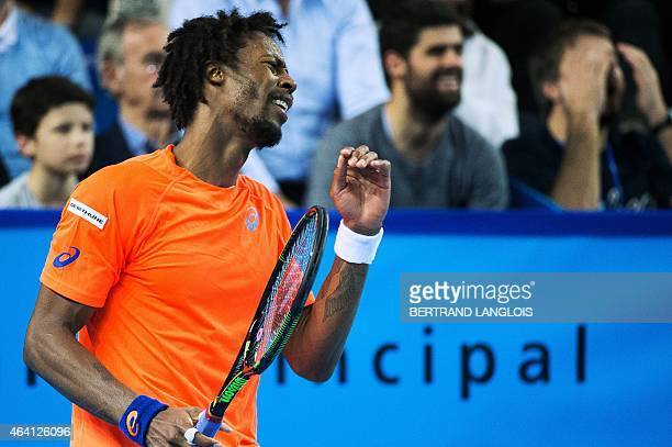 France's Gael Monfils reacts as he plays France's Gilles Simon during their Open 13 final tennis match in Marseille, southern France, on February 22,...