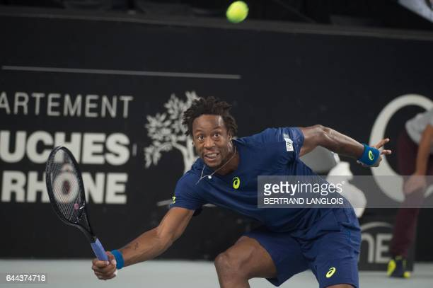 France's Gael Monfils returns the ball to Ukraine's Sergiy Stakhovsky during the ATP Marseille Open 13 tennis match in Marseille, southern France, on...