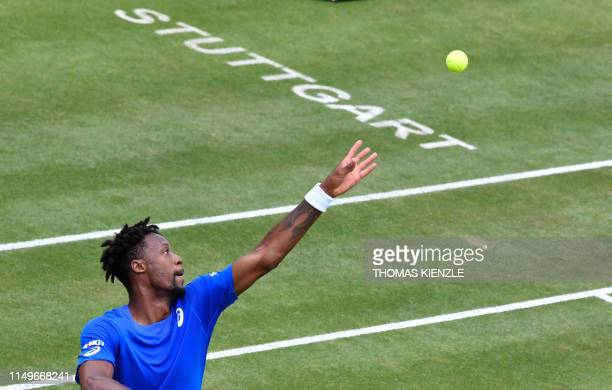 France's Gael Monfils serves to US' Denis Kudla during their roundof16 match at the ATP Mercedes Cup tennis tournament in Stuttgart southwestern...