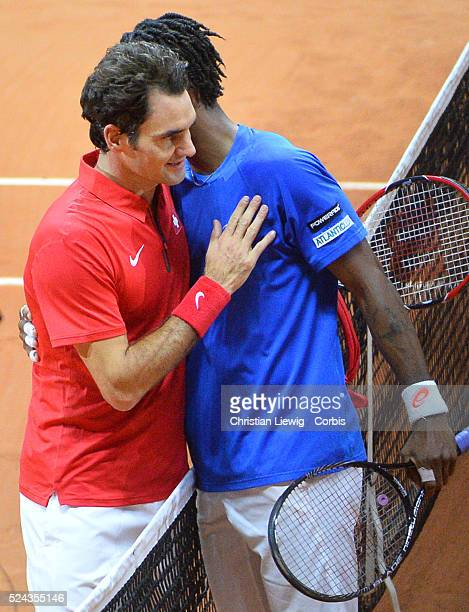 France's Gael Monfils vs Switzerland's Rogers Federrer in the Final of the Davis Cup 2014 in the Stadium Pierre Mauroy Villeneuve d'Ascq France on...