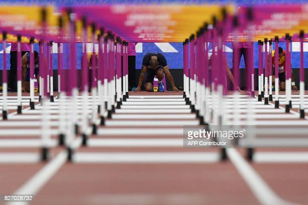 TOPSHOT France's Garfield Darien prepares at the start of the semifinals of the men's 110m hurdles athletics event at the 2017 IAAF World...