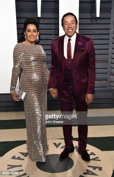 Frances Glandney and singer Smokey Robinson attend the 2017 Vanity Fair Oscar Party hosted by Graydon Carter at Wallis Annenberg Center for the...