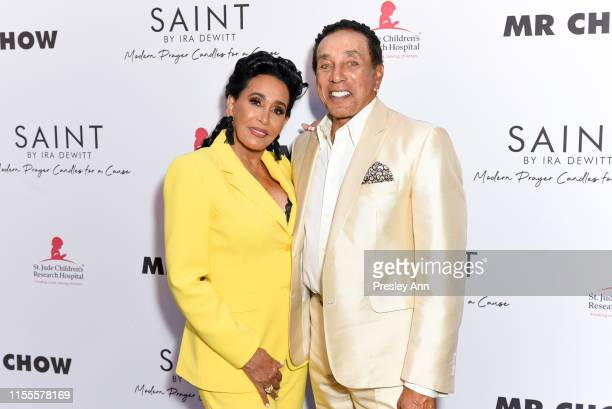 Frances Glandney and Smokey Robinson attend Ira and Bill DeWitt's Saint candle launch benefiting St Jude Children's Research Hospital at MR CHOW on...