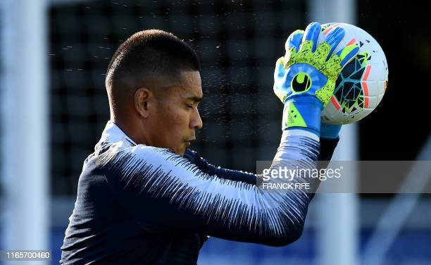 France's goalkeeper Alphonse Areola takes part in a training session at the French national football team training base in ClairefontaineenYvelines...