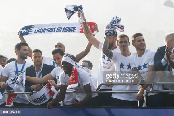 France's goalkeeper Hugo Lloris France's midfielder Steven N'Zonzi France's forward Florian Thauvin France's forward Ousmane Dembele France's forward...