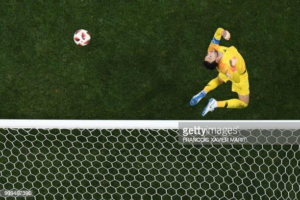 TOPSHOT France's goalkeeper Hugo Lloris saves a shot during the Russia 2018 World Cup final football match between France and Croatia at the Luzhniki...