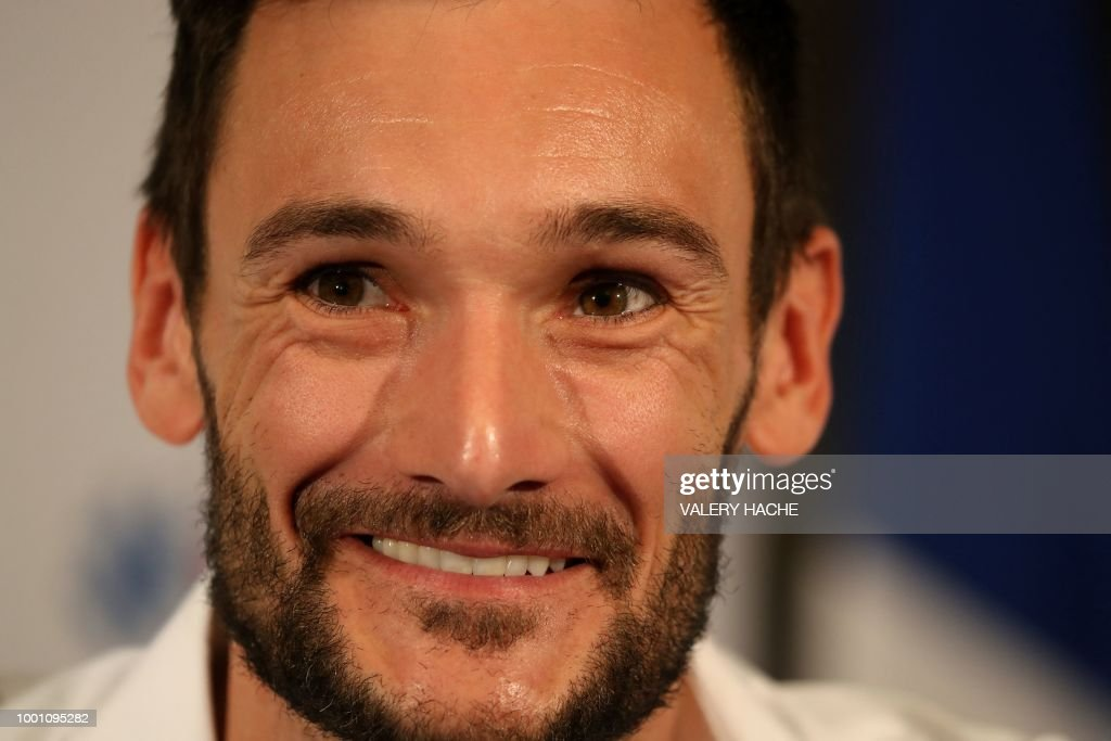 France's goalkeeper Hugo Lloris smiles during a press conference in his home town of Nice, southeastern France, on July 18, 2018 three days after French players won the Russia 2018 World Cup final football match.