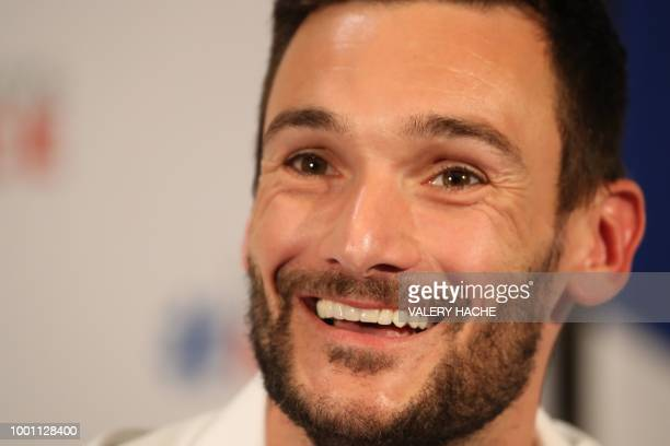 France's goalkeeper Hugo Lloris smiles during a press conference in Lloris' home town of Nice southeastern France on July 18 2018 three days after...