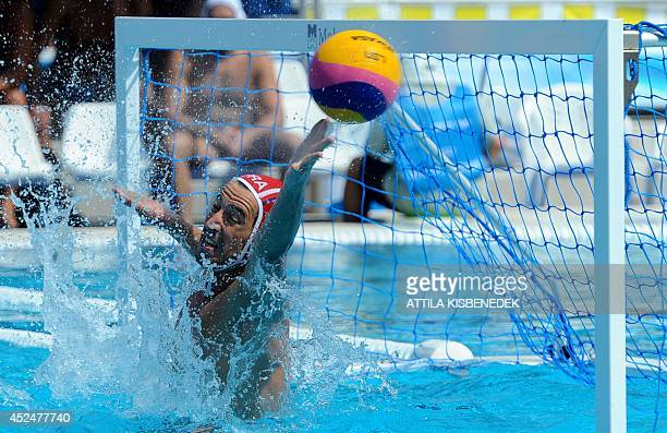 France's goalkeeper Remi Garsui vies with the ball against Germany during the men's Water Polo European Championships match of France vs Germany in...