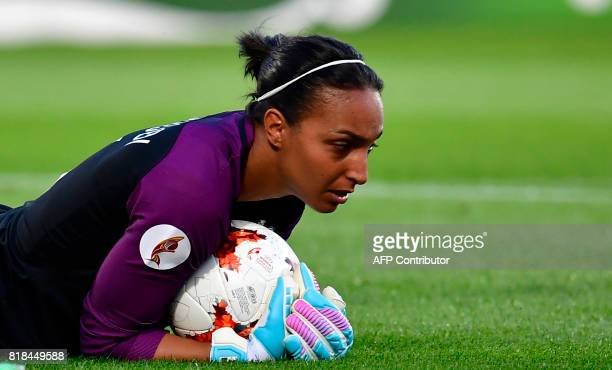 France's goalkeeper Sarah Bouhaddi saves a ball during the UEFA Women's Euro 2017 football tournament match between France and Iceland at Stadium...