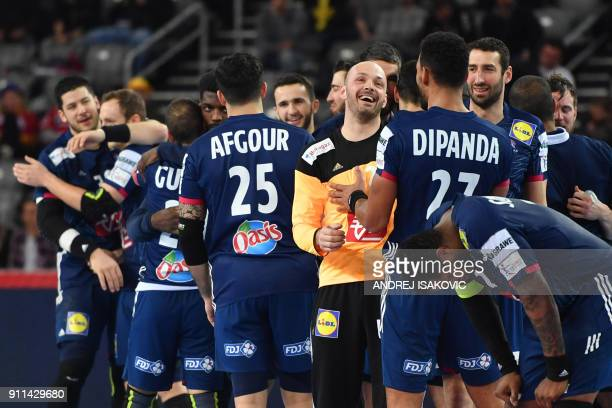 France's goalkeeper Vincent Gerard and teammates celebrate winning the match for third place of the Men's 2018 EHF European Handball Championship...