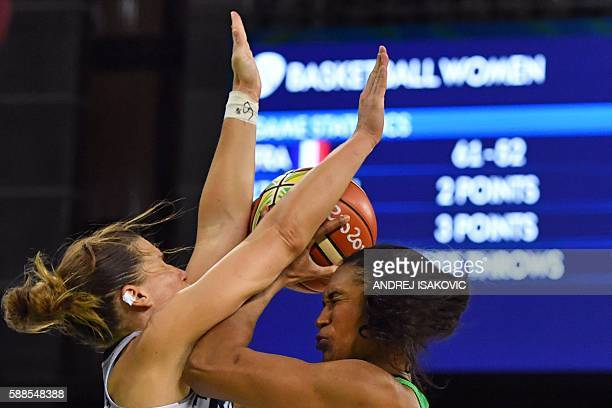 TOPSHOT France's guard Gaelle Skrela collides with Brazil's shooting guard Iziane Castro during a Women's round Group A basketball match between...