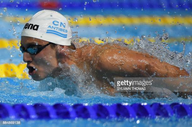 France's Guillaume Laure competes in the men's 200m medley final at the 25m French swimming championships in Montpellier on December 3 2017 / AFP...