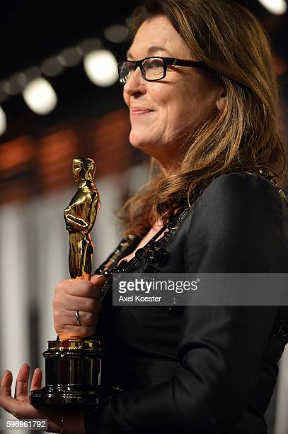 Frances Hannon winner of the Best Makeup Hairstyling Award attends the 2015 Vanity Fair Oscar Party hosted by Graydon Carter at the Wallis Annenberg...