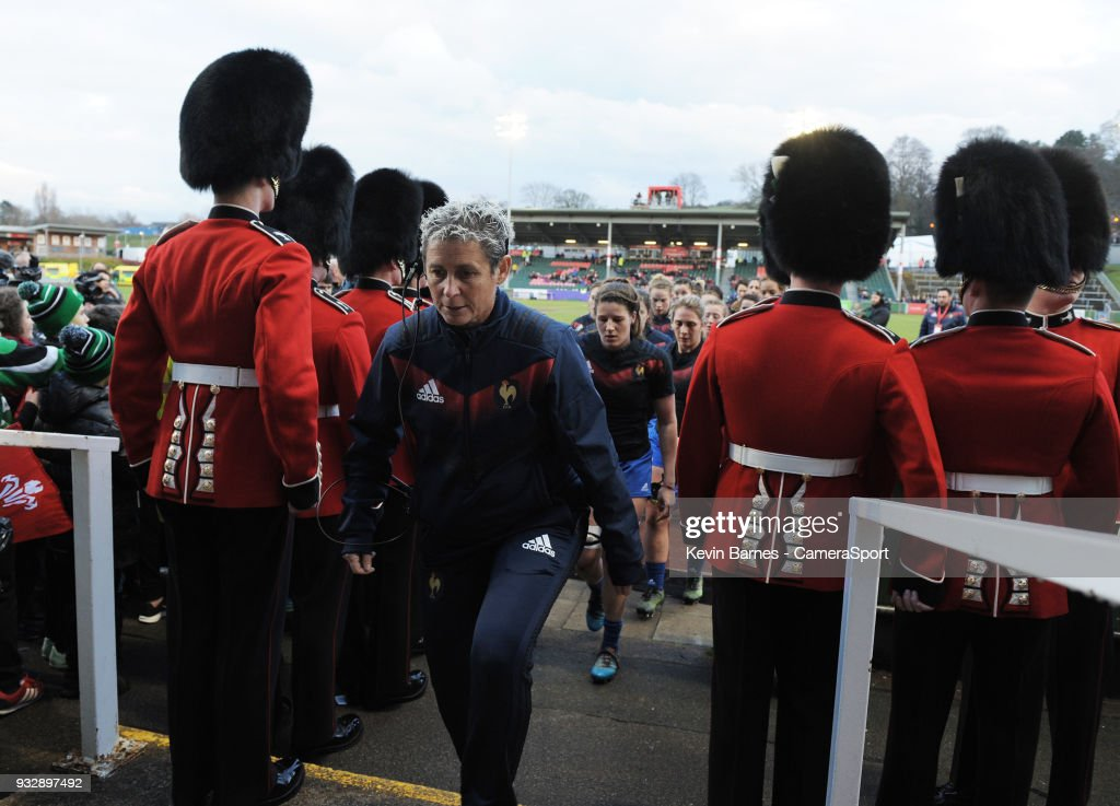France's Head Coach Annick Hayraud leads her side back to the dressing room after the pre-match warmup during the Women's Six Nations Championships Round 5 match between Wales Women and France Women at Parc Eirias on March 16, 2018 in Colwyn Bay, Wales.