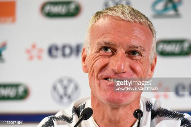 France's head coach Didier Deschamps attends a press conference on the eve of the UEFA Euro 2020 qualifier Group H football match Iceland v France on...