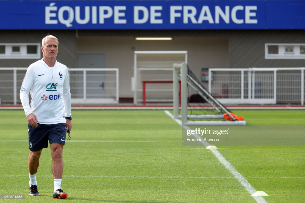 France's head coach Didier Deschamps during a training session at the French national football team centre in Clairefontaine-en-Yvelineson May 25, 2018 in Clairefontaine, France. The French national football team begin their preparation for the upcoming FIFA 2018 World Cup in Russia.