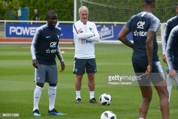 France's head coach Didier Deschamps during a training session at the French national football team centre in ClairefontaineenYvelines on May 25 2018...