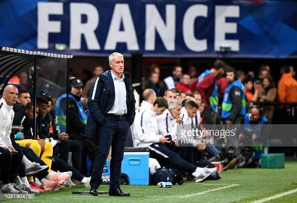 France's head coach Didier Deschamps reacts during the friendly football match between France and Iceland at the Roudourou Stadium in Guingamp...
