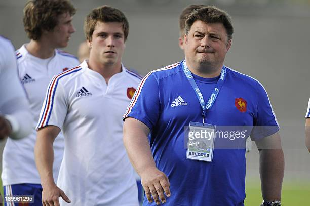 France's head coach Didier Retiere looks on during the Under 20 Rugby Union world championship match between France and England on June 5 in La...