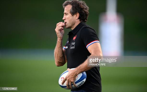France's head coach Fabien Galthie looks on during a training session on October 21 2020 in Marcoussis south of Paris as part of the preparation of...