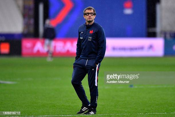 France's head coach, Fabien Galthie looks on prior to the Guinness Six Nations Rugby Championship match between France and Scotland at Stade de...