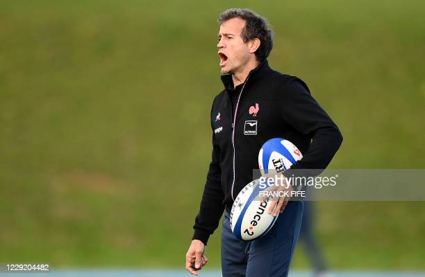 France's head coach Fabien Galthie reacts during a training session on October 21 2020 in Marcoussis south of Paris as part of the preparation of the...