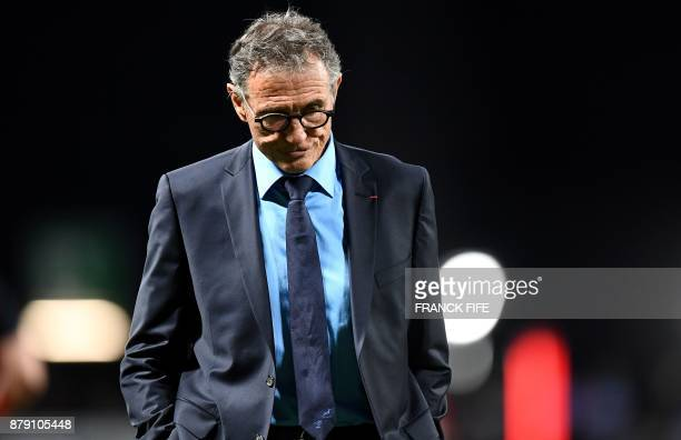 TOPSHOT France's head coach Guy Noves looks on ahead of the friendly rugby union international Test match between France and Japan at The U Arena in...