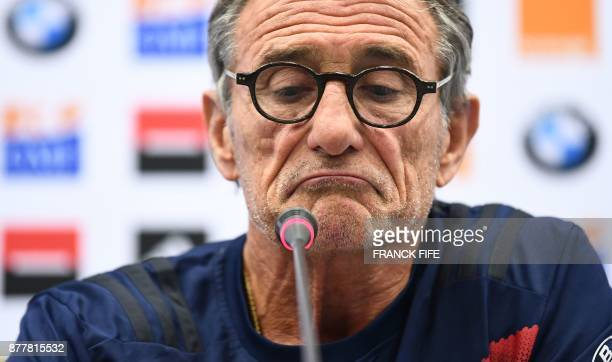 France's head coach Guy Noves reacts during a press conference two days ahead of the friendly rugby union international match between France and...