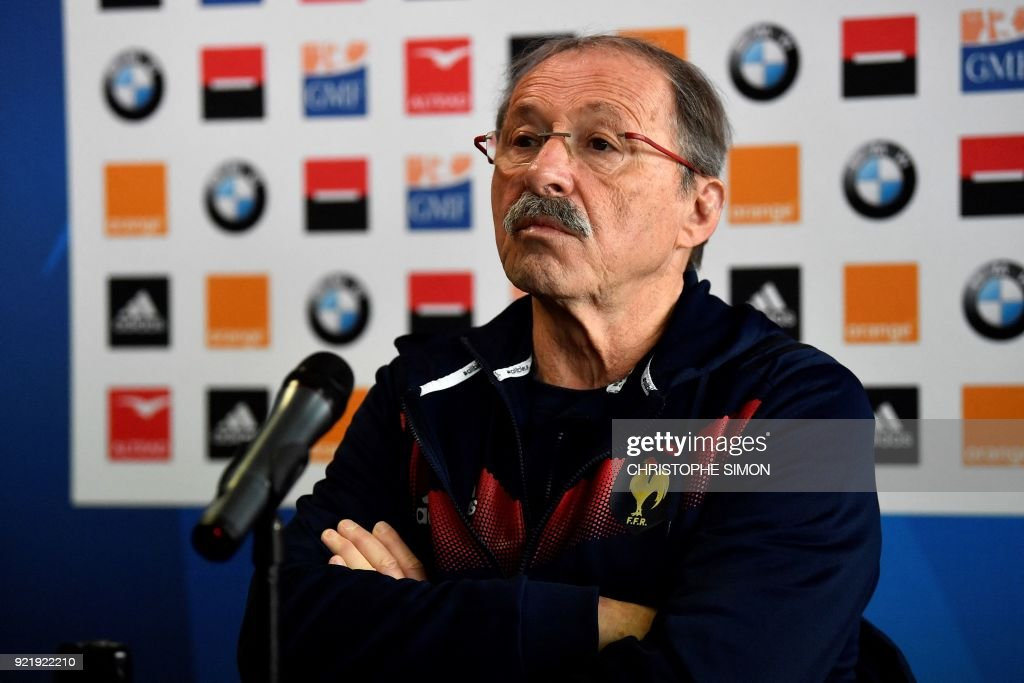 France's head coach Jacques Brunel gives a press conference at the Maurice David stadium in Aix-en-Provence on February 21, 2018 ahead of the Six Nations rugby match against Italy. /