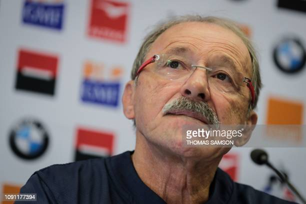France's head coach Jacques Brunel speaks during a press conference to present the team composition in Marcoussis on the outskirts of Paris on...